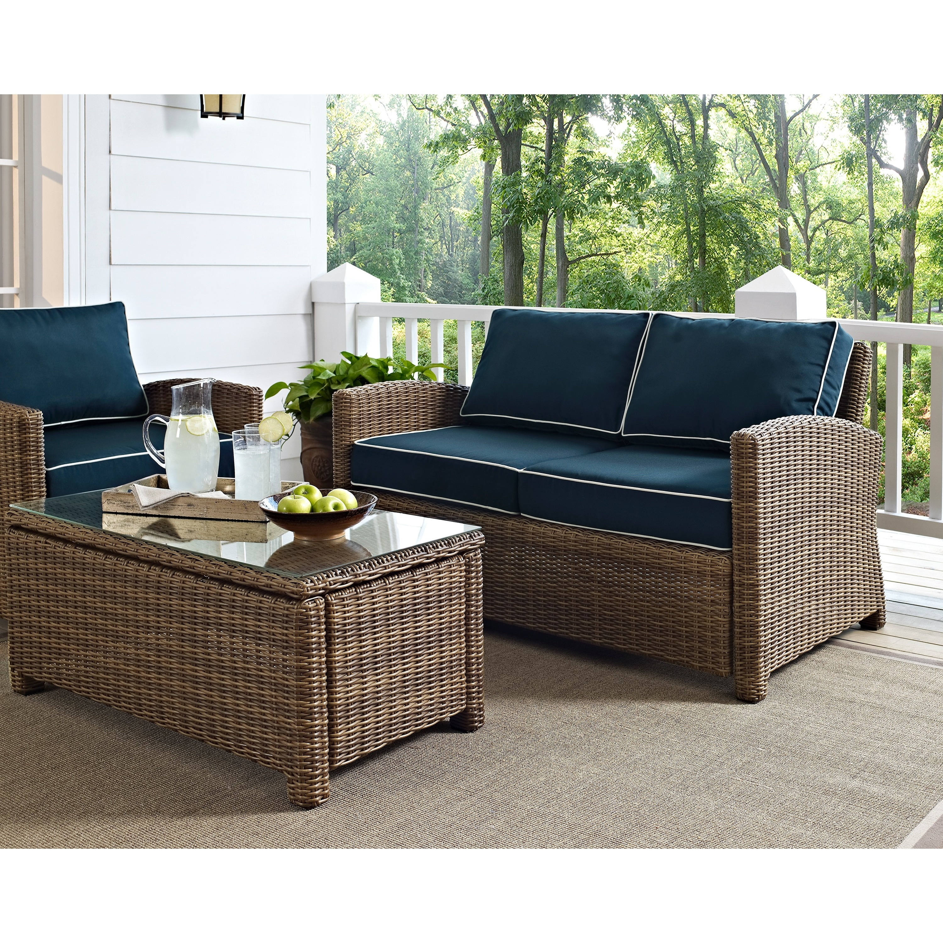 Excellent Bradenton Outdoor Wicker Loveseat With Navy Cushions Cjindustries Chair Design For Home Cjindustriesco