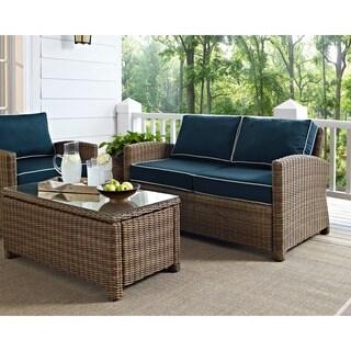 Bradenton Outdoor Wicker Loveseat with Navy Cushions