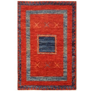 Herat Oriental Afghan Hand-knotted Vegetable Dye Shag Gabbeh Wool Rug (4'9 x 7'3)