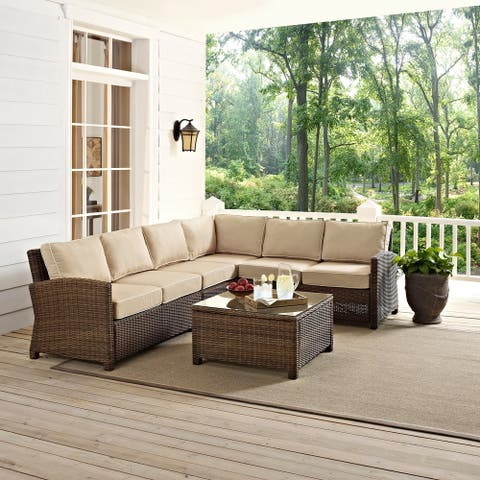 Bradenton 5-Piece Outdoor Wicker Seating Set with Sand Cushions