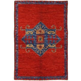 Herat Oriental Afghan Hand-knotted Vegetable Dye Gabbeh Wool Rug (4'8 x 7'2)