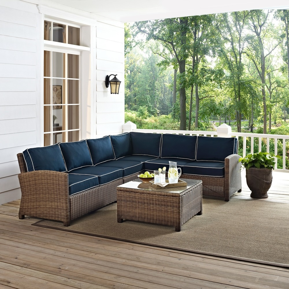 Bradenton 5-Piece Outdoor Wicker Seating Set with Cushions