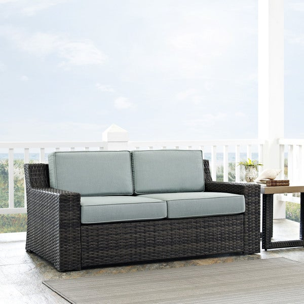 Beaufort Outdoor Espresso All Weather Wicker Loveseat With Mist Cushions Free Shipping Today