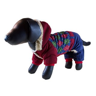 Petcessory Burgundy and Blue Cotton Argyle 4-leg Turtleneck Dog Hoodie