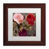 Color Bakery 'Birds and Roses' Matted Framed Art - Red