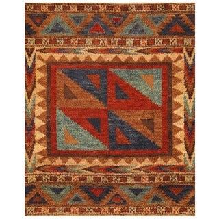 Herat Oriental Afghan Hand-knotted Vegetable Dye Shag Gabbeh Wool Rug (7'7 x 9'5)