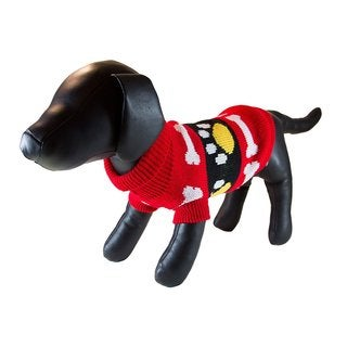 Petcessory Red Cotton Bones and Paws Dog Turtleneck Sweater