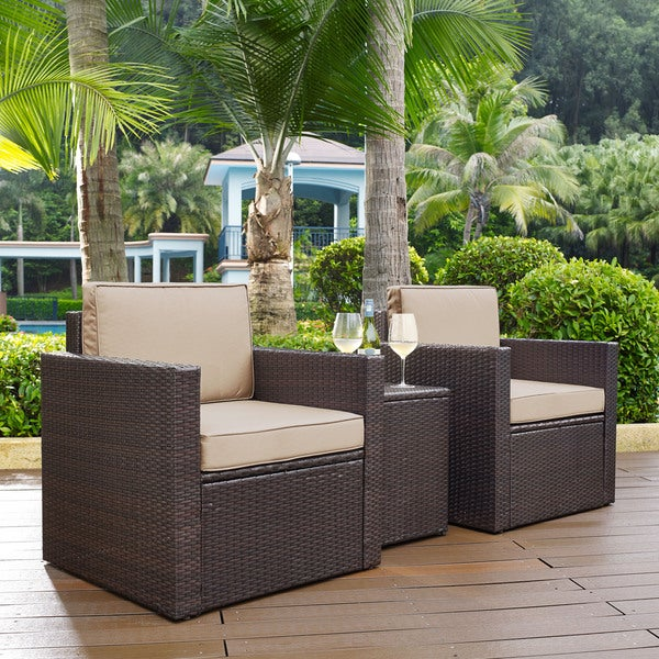 shop palm harbor 3-piece outdoor wicker conversation set with sand cushions