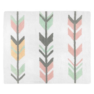 Sweet Jojo Designs Coral Mint Mod Arrow Collection Floor Rug