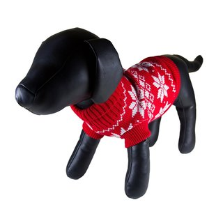 Petcessory Red Cotton Snowflake Turtleneck Dog Sweater