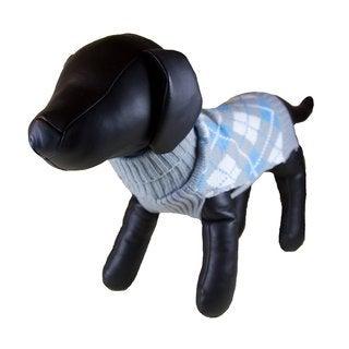 Petcessory Light Grey Argyle Turtleneck Dog Sweater