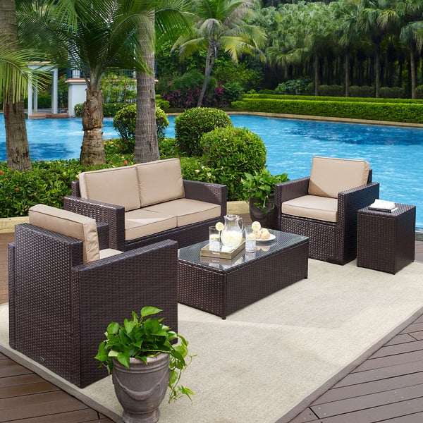 Palm Harbor 5 Piece Outdooor Wicker Conversation Set With Sand Cushions Free Shipping Today 14789755