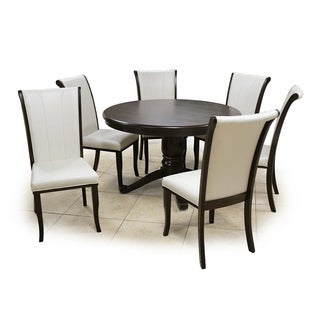 Kiko Table and Chairs Brown Walnut Cream 7-piece Set Pedestal