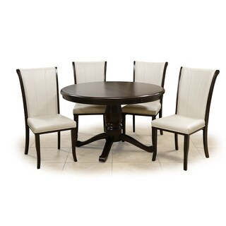 Kiko Table and Chairs Brown Walnut Cream 5-piece Set Pedestal|https://ak1.ostkcdn.com/images/products/14789765/P21310399.jpg?_ostk_perf_=percv&impolicy=medium