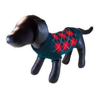 Petcessory Green Cotton Argyle Turtleneck Dog Sweater