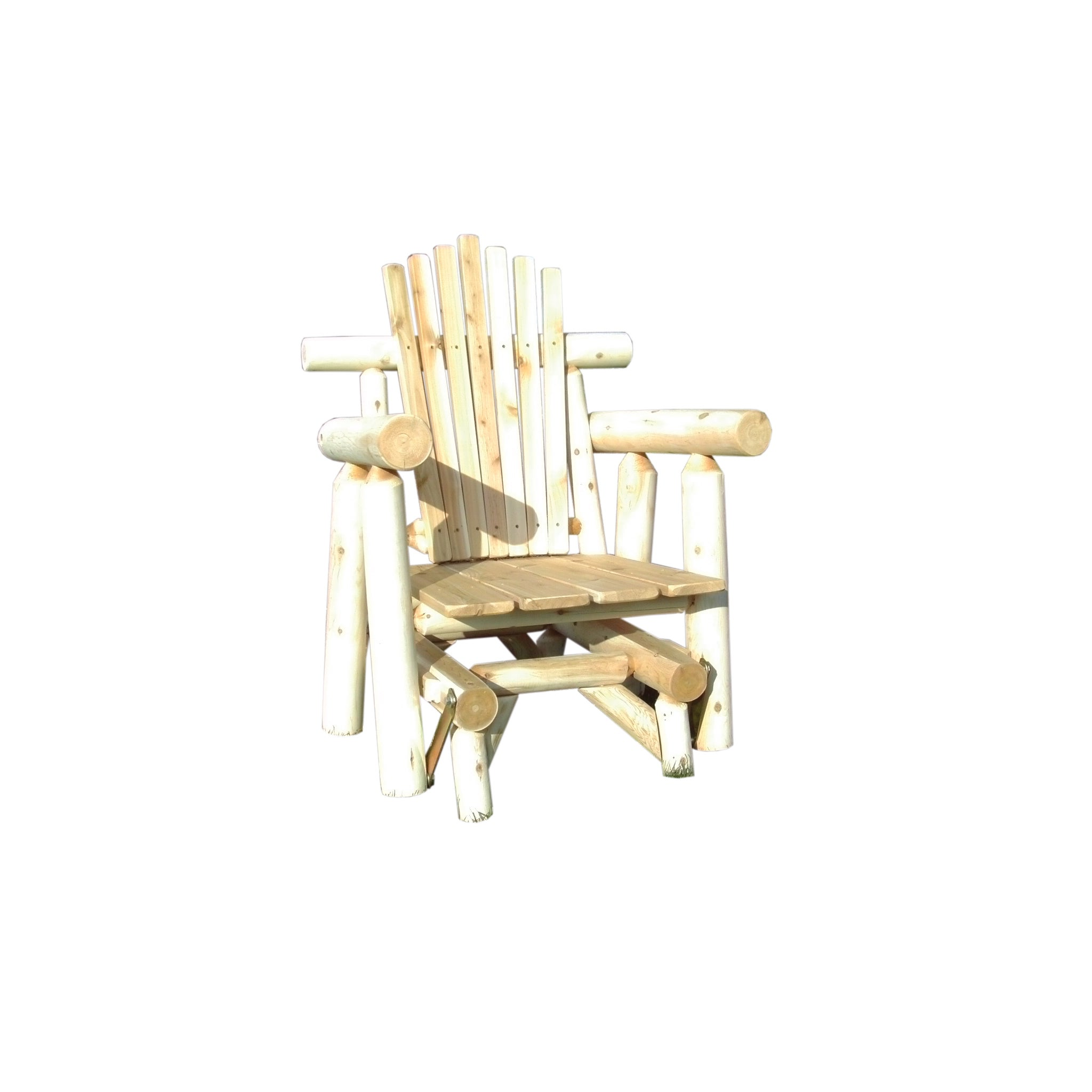 Rustic Outdoor White Cedar Log Adirondack Glider Chair  Amish Made In The  USA