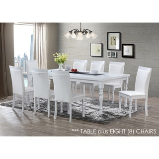 Zark White Dining Set 9-piece 82-inch Table and Chairs