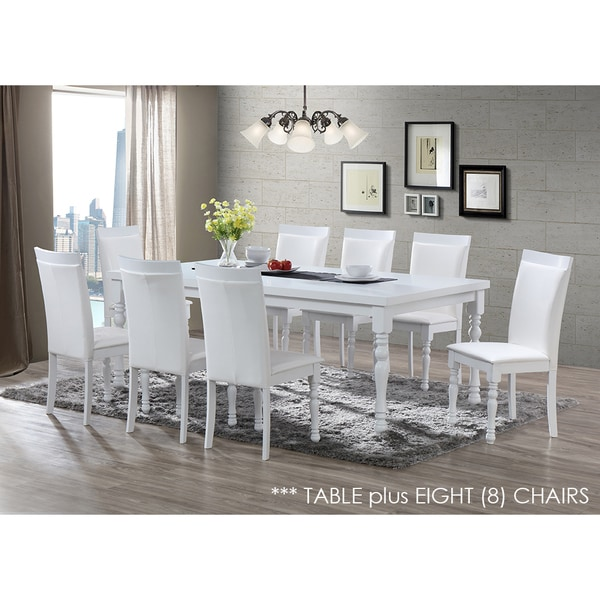 Zark White Dining Set 9 Piece 82 Inch Table And Chairs