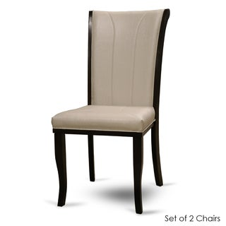 Warehouse of Tiffany Cream Bi-cast Leather and Dark Brown Wood Kiko Dining Chairs (Set of 2)