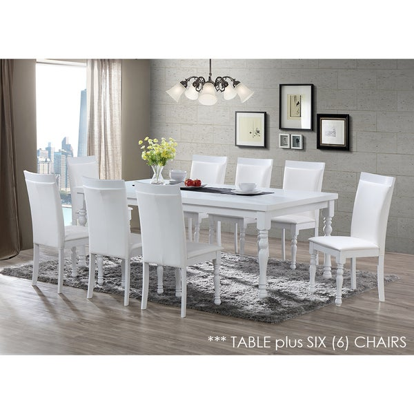 Zark White Dining Set 7 Piece 82 Inch Table And Chairs