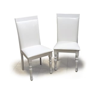 Warehouse of Tiffany Zark White Wood/Bicast Leather Dining Chair (Set of 2)