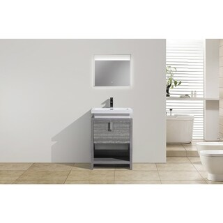 Moreno Bath MOL 24 Inch Free Standing Modern Bathroom Vanity With Reinforced Acrylic Sink
