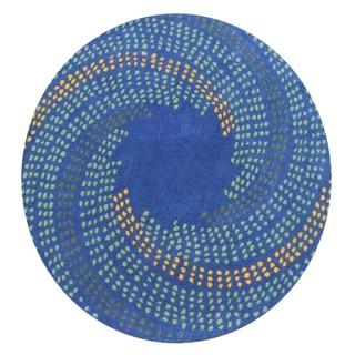 Alliyah Handmade New Zealand Blend Wool Classic Blue Abstract Rug ( 4' x 4' )