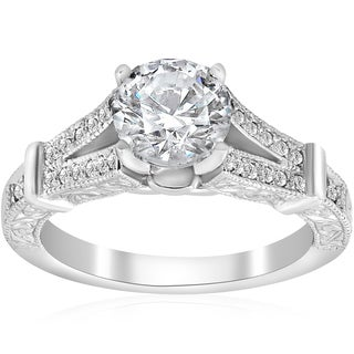 14K White Gold 1 3/4 ct TDW Diamond Clarity Enhanced Vintage Engagement Antique Style Ring