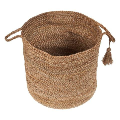 "LR Home Montego Solid Natural Jute Decorative Storage Basket (19 in.) - 19"" x 19"" x 19"""