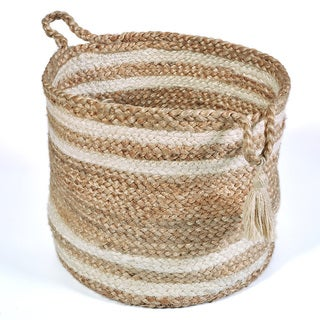 L and R Home Jute 17 x 17 x 17-inch Top and Bottom Striped Indoor Storage Basket