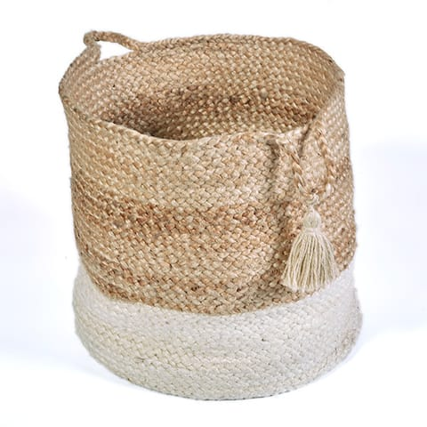 """LR Home Montego Two-Toned Jute Decorative Storage Basket (17 in.) - 17"""" x 17"""" x 17"""""""