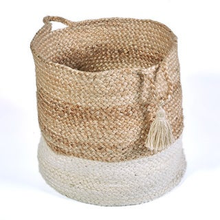 L and R Home White Jute 17 x 17 x 17-inch Bottom-bleached Indoor Storage Basket