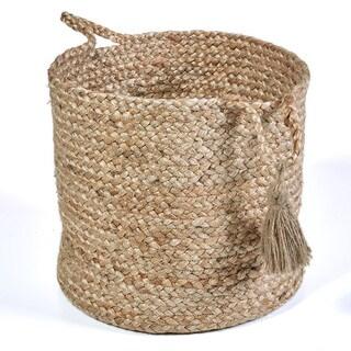 "LR Home Montego Solid Natural Jute Decorative Storage Basket (15 in.) - 15"" x 15"" x 15"""