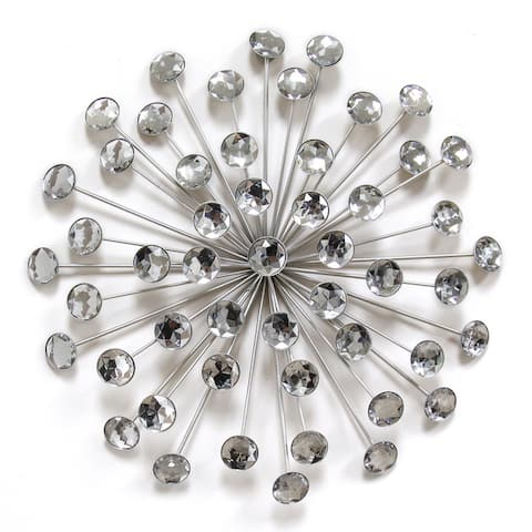 Stratton Home Decor Silver Acrylic 16-inch Burst Wall Decor