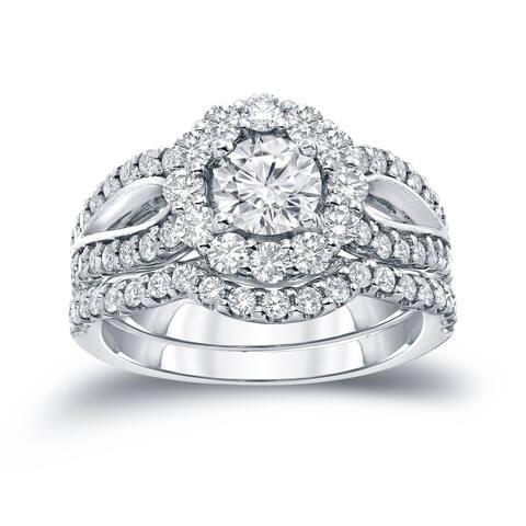 Auriya 14k Gold Round 2 1/3ct TDW Certified Diamond Halo Engagement Ring Set