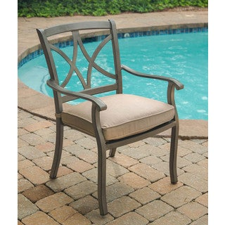 agio davenport grey aluminum outdoor dining chair
