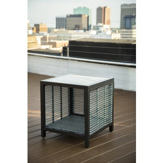 Agio Del Mar Blue and Black Wicker, Aluminum, and Glass Side Table