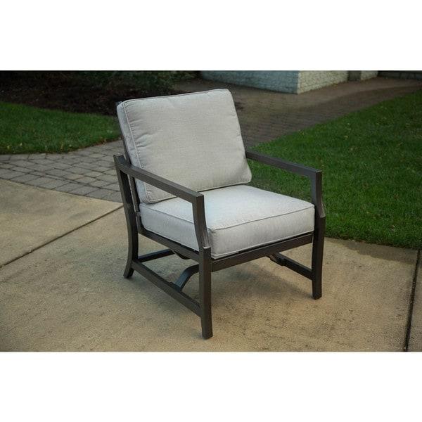 Agio Maddox Grey Aluminum And Sunbrella Lounge Chairs (Set Of 2)