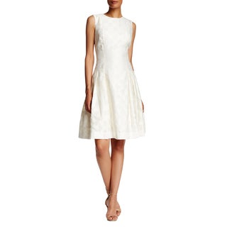 Carmen Marc Valvo Ivory Brocade Dress