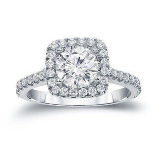 Auriya 14k Gold 1 2/5ct TDW Certified Round Cut Diamond Halo Engagement Ring (H-I SI1-SI2)