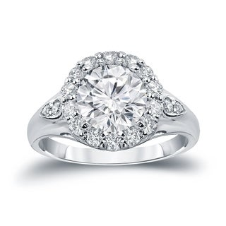 Auriya 14k Gold 3 1/3ct TDW Certified Round Cut Halo Diamond Halo Engagement Ring (H-I SI1-SI2)