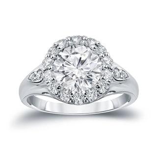 Auriya 14k Gold 3 1/3ct TDW Certified Round Cut Halo Diamond Halo Engagement Ring (H-I SI1-SI2)