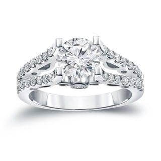 Auriya 14k Gold 1 1/2ct TDW Certified Round Cut Diamond Halo Engagement Ring (H-I SI1-SI2)