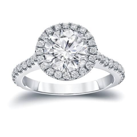 Auriya 14k Gold 2 2/5ctw Round Halo Diamond Engagement Ring Certified