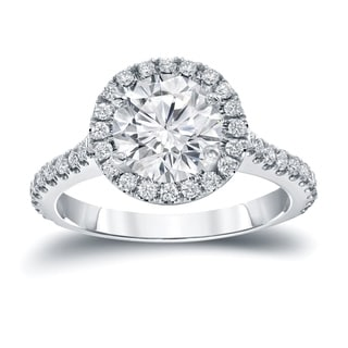 Auriya 14k Gold 2 2/5ct TDW Certified Round Cut Diamond Halo Engagement Ring (H-I SI1-SI2)