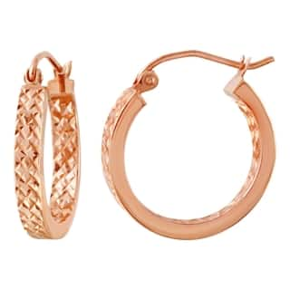 10k Pink Gold In and Out Diamond Cut 3mm Flat Hoop Earrings|https://ak1.ostkcdn.com/images/products/14790108/P21310705.jpg?impolicy=medium