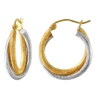 10k Two-tone Gold 4.2mm Twisted Matte Hoop Earrings
