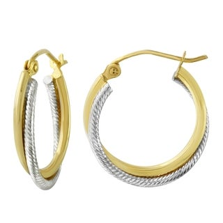 10k Two Tone Gold 3mm Two Row Hoop Earrings