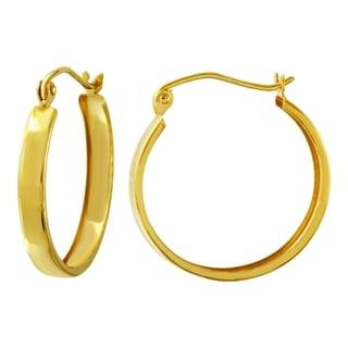 10k Yellow Gold 3mm High Polish Flat Hoop Earrings