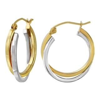 10k Two Tone Gold 3.8mm Twisted Hoop Earrings